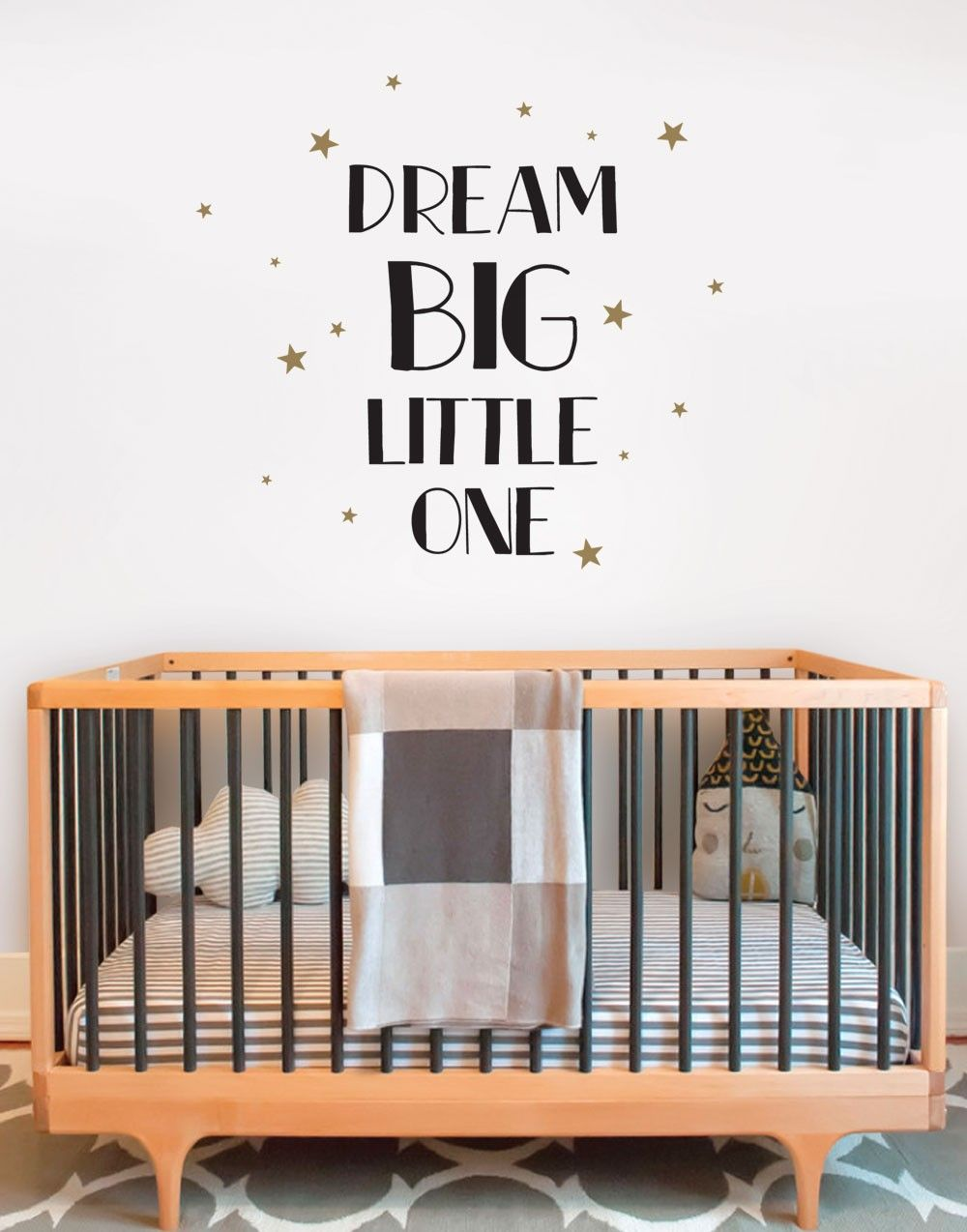 Dream big little one quote lettering wall decal babykids clothes