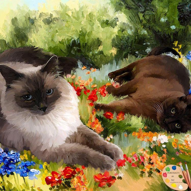 Siamese Cats Portrait 512 Cat Portraits Pet Portraits Oil