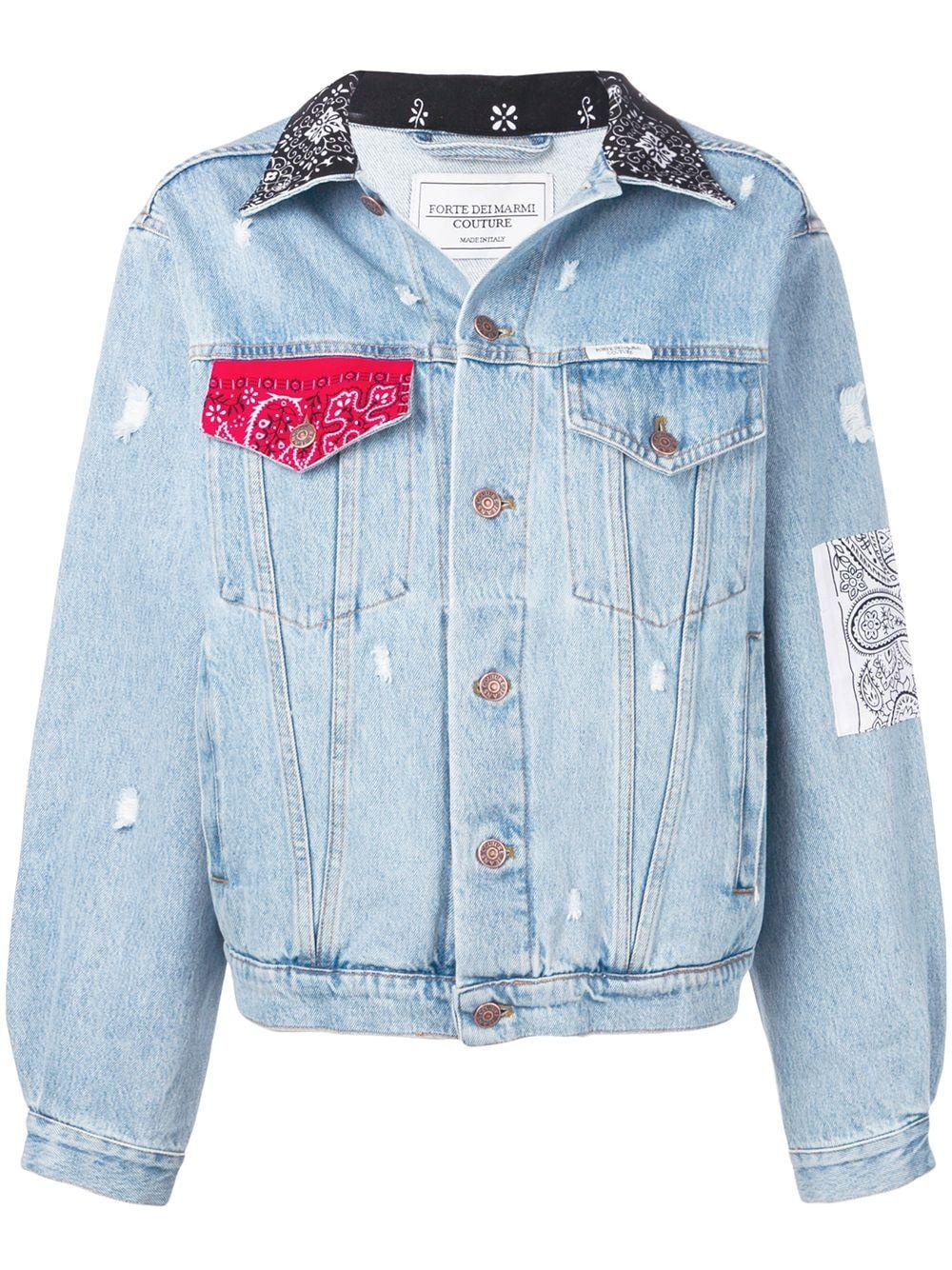 Forte Dei Marmi Couture Bandana Trim Denim Jacket Farfetch Denim Jacket Jackets Denim [ 1334 x 1000 Pixel ]