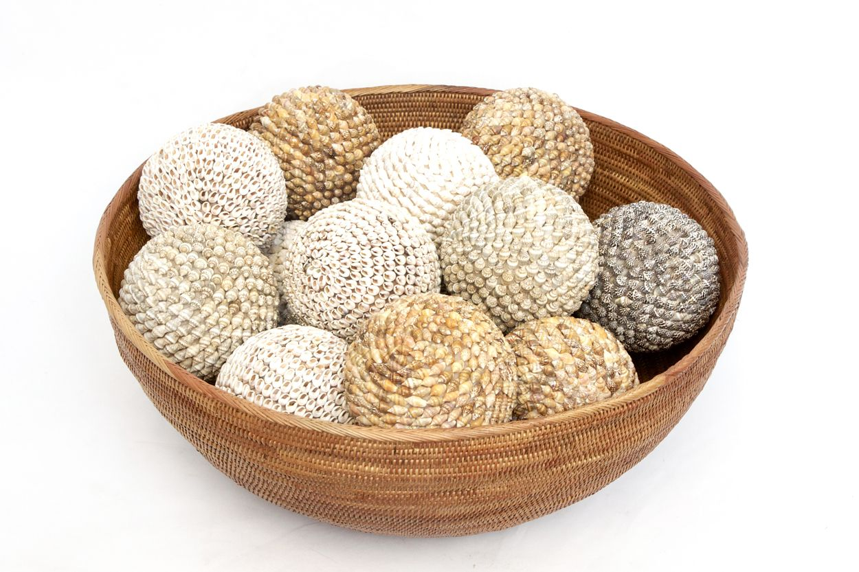 Decorative Bowl With Balls Round Atta Bowl Assorted Shell Balls  Orient House Specialises
