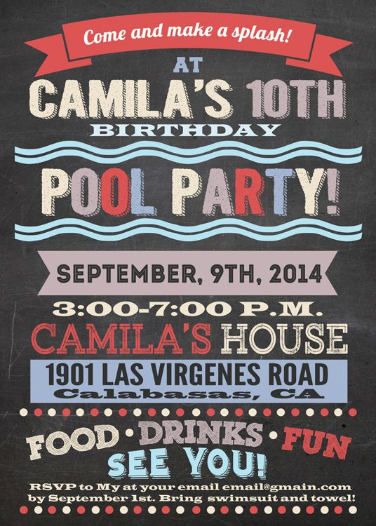 Girl pool party invitation Girly water party style Make custom