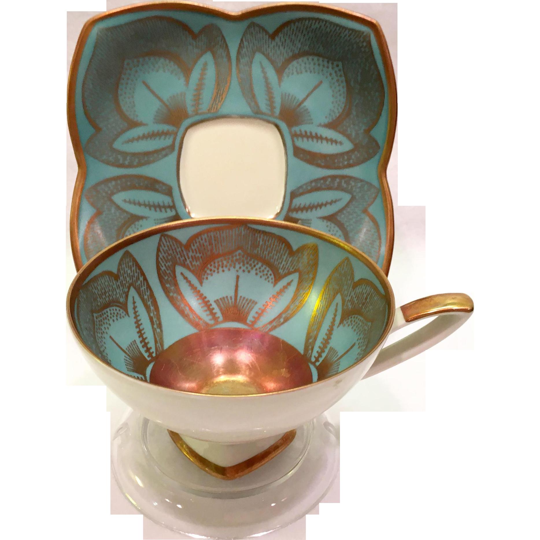 Alka west germany gold on blue 935 lotus flower teacup and saucer alka gold on blue lotus flower 935 teacup and saucer made in west germany izmirmasajfo