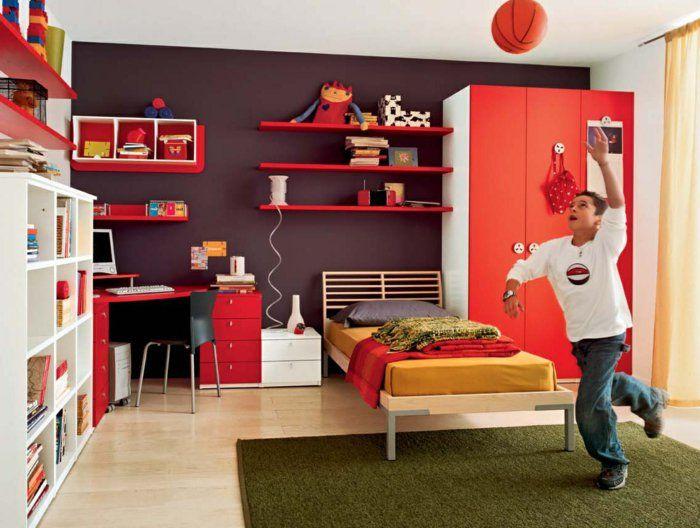 Kinderzimmermöbel junge  kinderzimmer gestalten junge spielt basketball im zimmer grüner ...