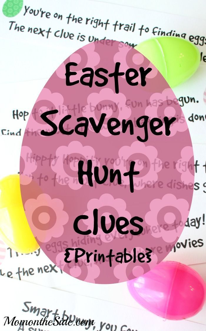Easter Ideas: Printable Easter Scavenger Hunt Clues that work for any home! Great idea if you are looking for an easy and fun holiday activity for kids! #easter #printables #kids #kidsactivities