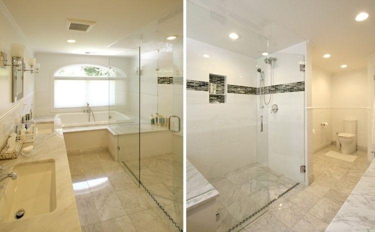 Badezimmer aus Marmor mit Duschabteilung und länglicher Ablaufrinne ...