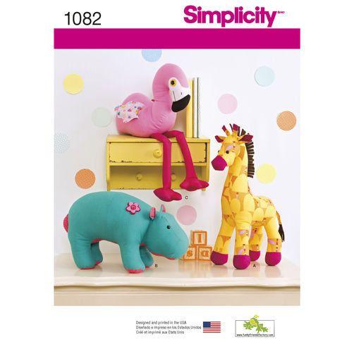 Einfachheit Muster 1082 gefüllte Tiere, Flusspferde, Giraffen und ...