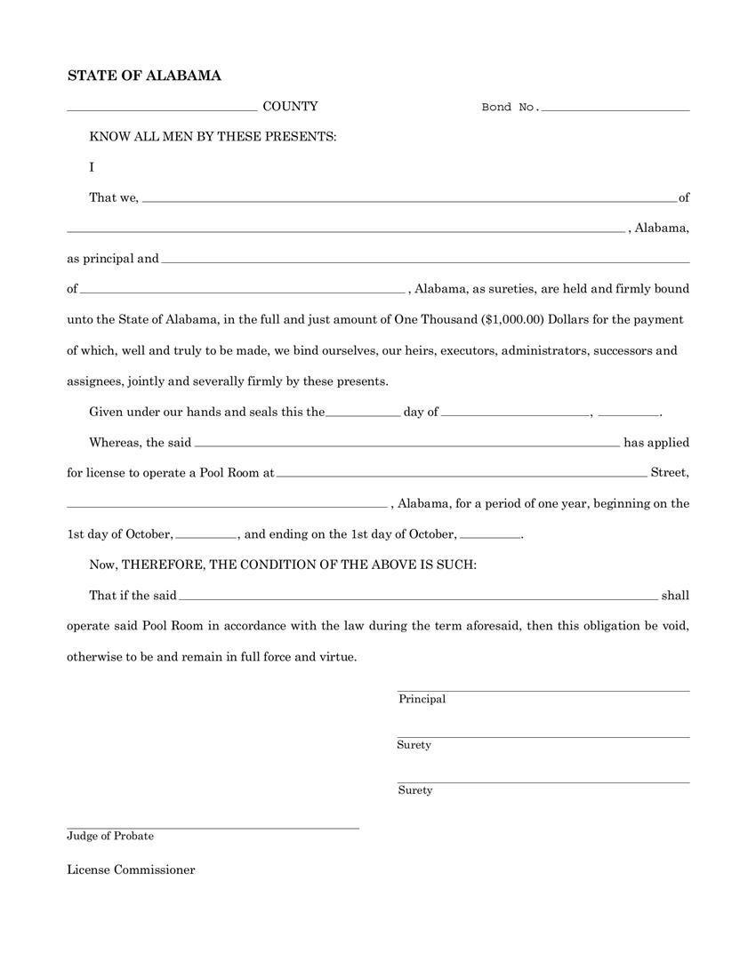 Alabama Pool Room Bond Http Gtldworldcongress Al Agreement