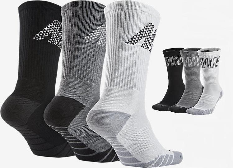 Nike Mens 3PK Dry Cushioned Crew Black Gray White Training ...