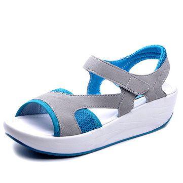 638437efd18e03 Women Casual Wedge Sandals Breathable Rocker Sole Shoes