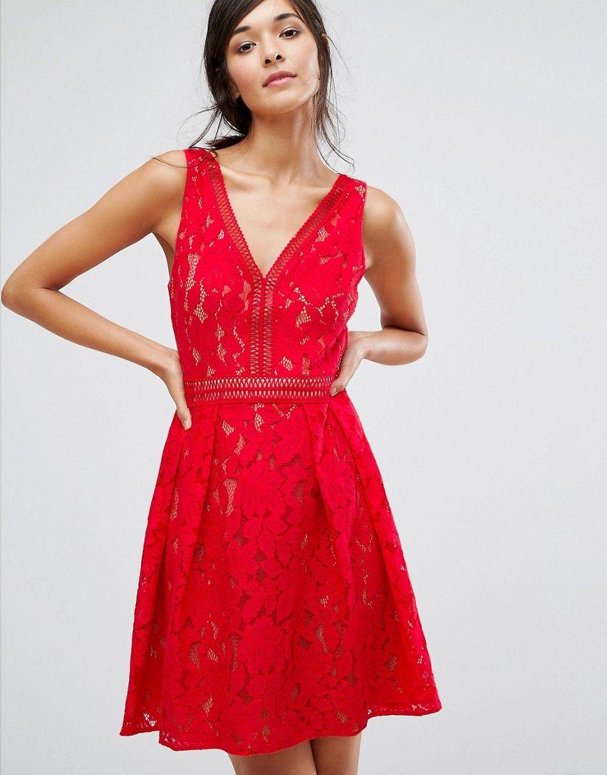 Oasis - Mini-Skaterkleid aus Spitze - Rot Jetzt bestellen unter ...