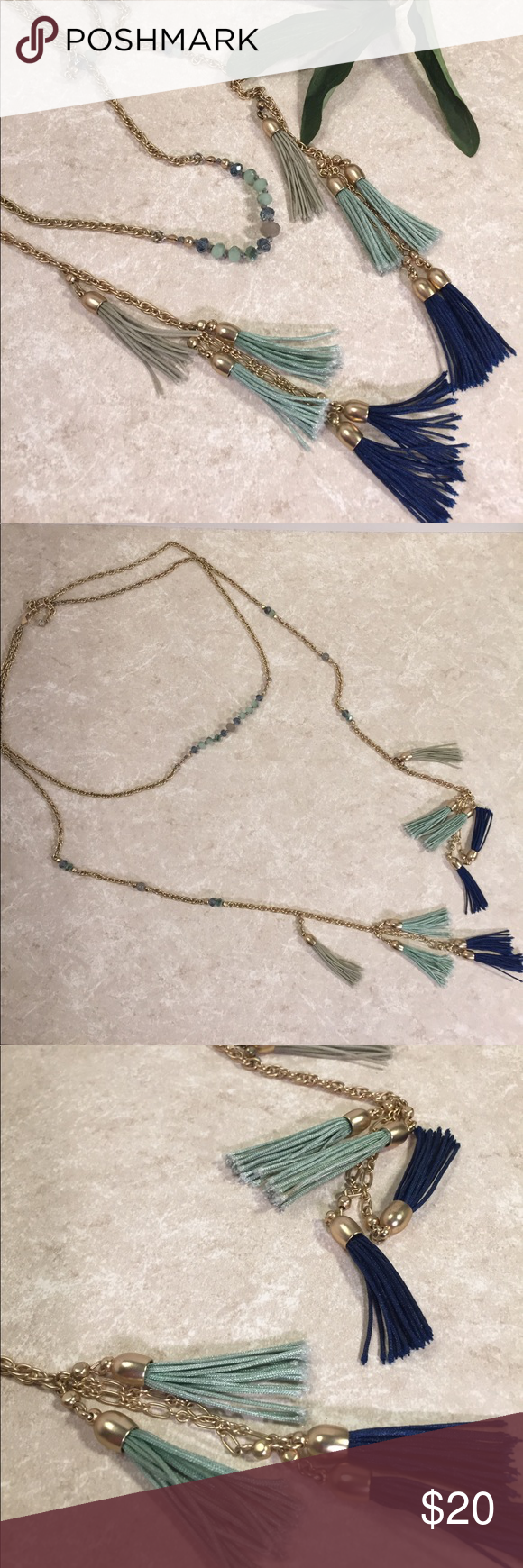 Long tassel necklace bronze teal and mint This is a beautiful chain necklace, single loop with two free tassels with several tassels at ends, see pictures for details. Good condition. Be sure and check out other items in closet and bundle to receive discounts. Jewelry Necklaces