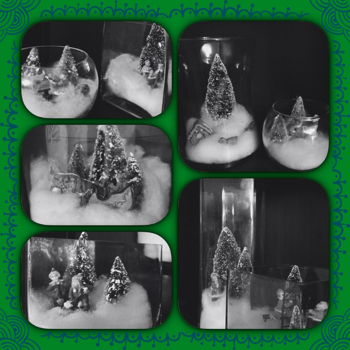 Christmas decorations use using glass vases. Christmas trees and min village people.