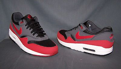 Nike Air Max 1 Essential Running Sneakers Black Red Grey Mens Size 10 NEW!