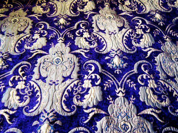 Custom Made Exterior Carpet Bag Purple And Gold Damask