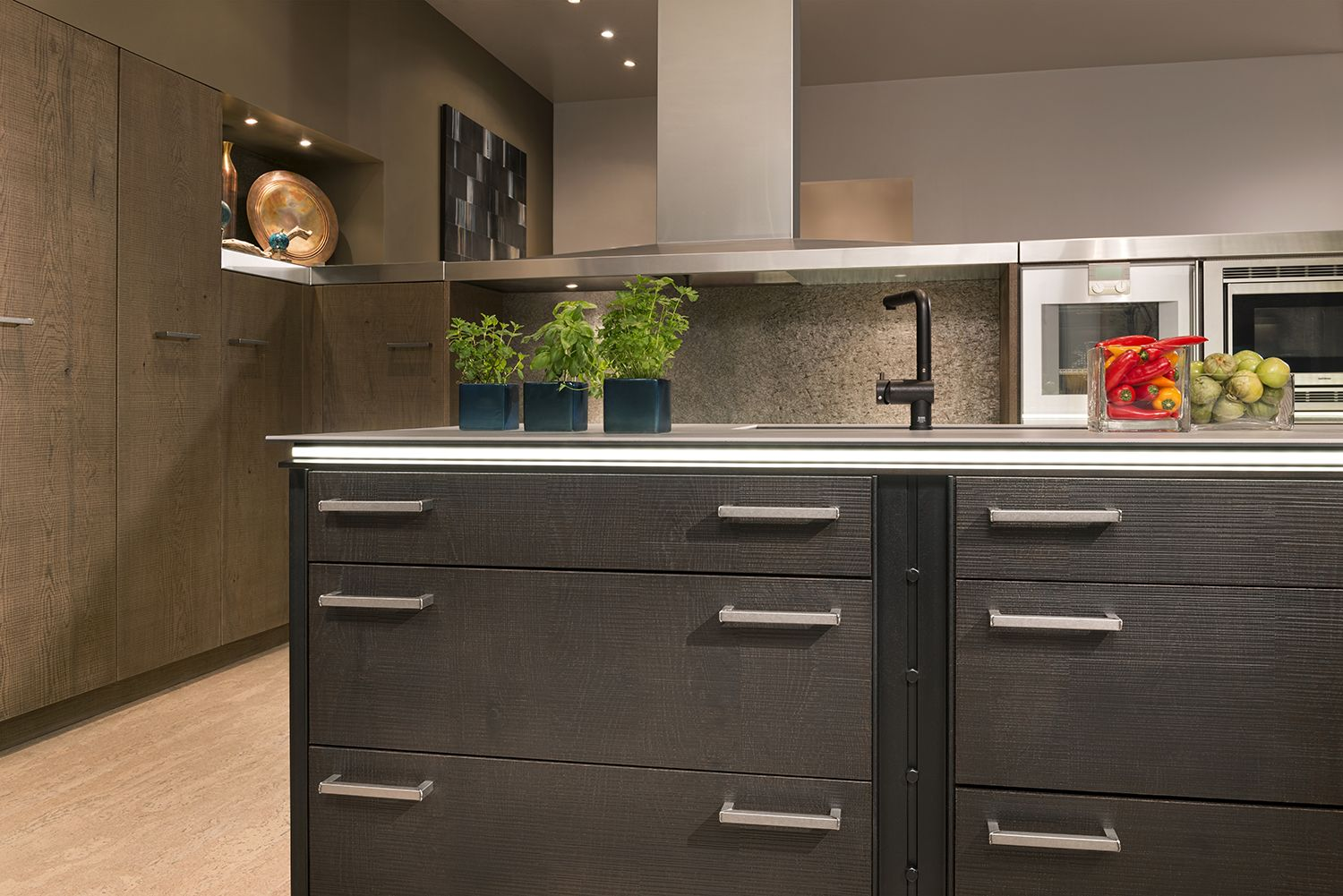 Universal Elements Kitchen By Woodmode Shown In Oolong And Foundry Finishes On Contemporary Kitchen Cabinets Contemporary Kitchen Contemporary Kitchen Design