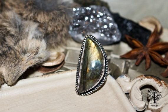 Röötz - Half Moon LABRADORITE ring,gypsy ring ,silver ring, labradorirte ring, 925 sterling silver ring, labradorite stone ring, boho ring