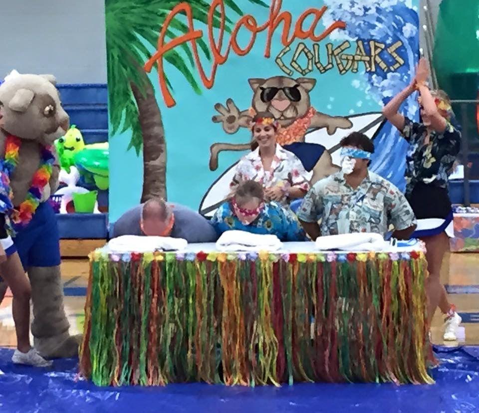 Hawaiian Themed Pep Rally 8•26•16 Teacher Game GCS Pep