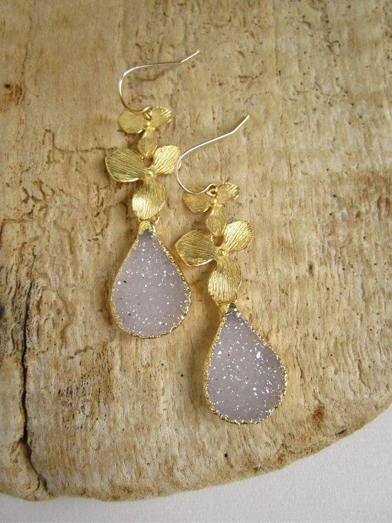 Druzy Earrings Drusy Quartz Teardrops 18K Gold by julianneblumlo