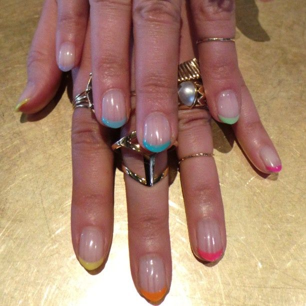 rainbow tipped manicure - Photo by evachen212