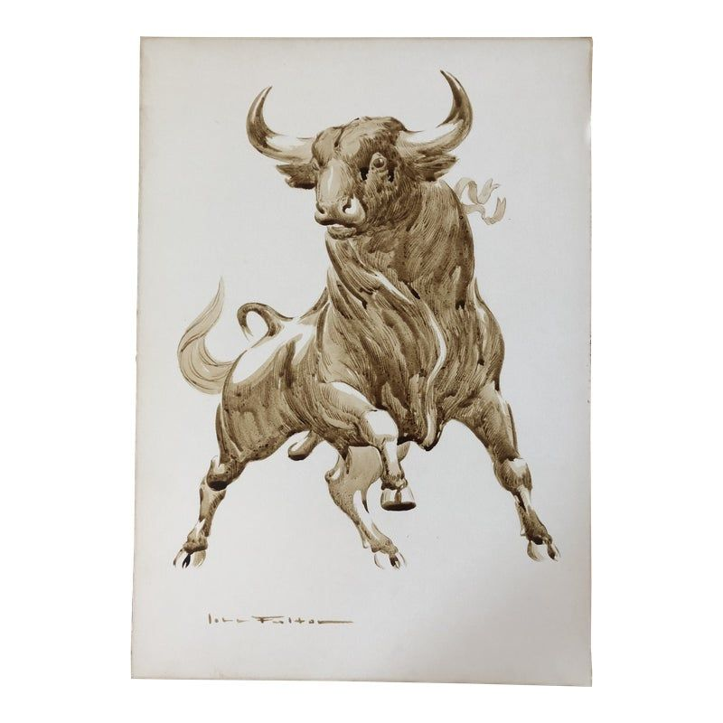 Original Mid Century Modernist Bull Painting Signed in