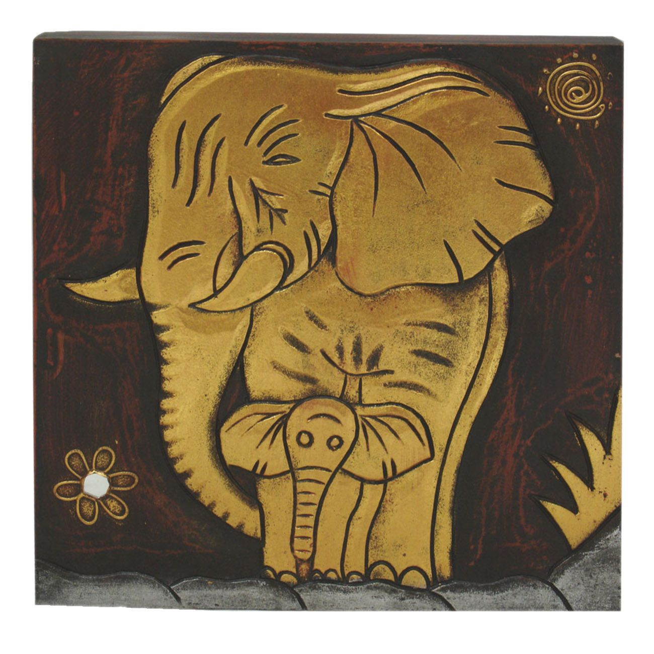 This beautifully hand-carved \'elephant with baby\' wall panel is ...