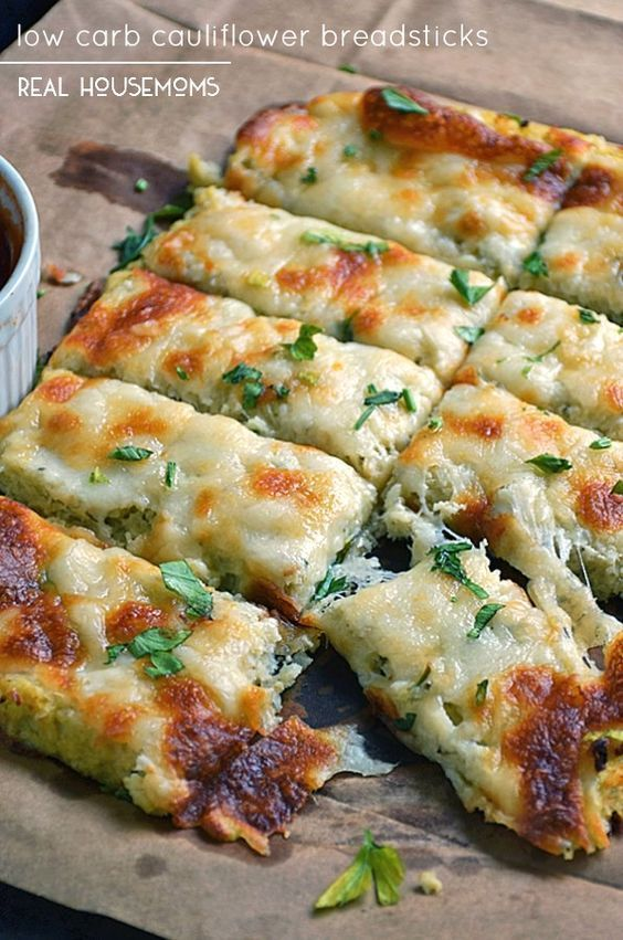 Low Carb Cauliflower Breadsticks With Fresh Herbs Garlic And
