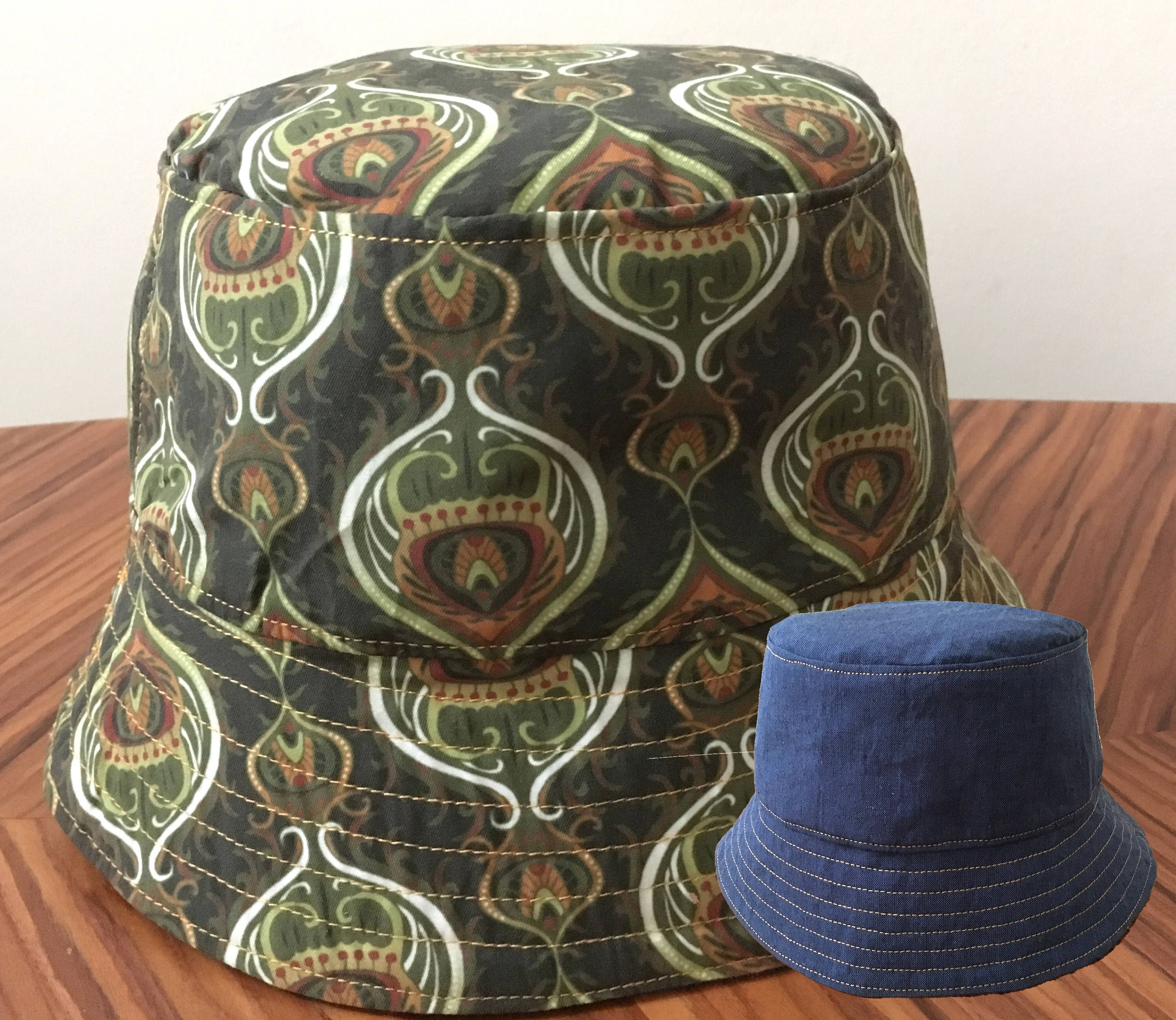32d7eb5d3f2 Reversible Bucket Hat in a Khaki Olive Green Paisley Style Print ...