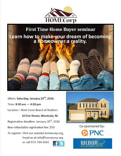 This seminar is for 1st time home buyers.  It will take place on January 30th due to the blizzard.