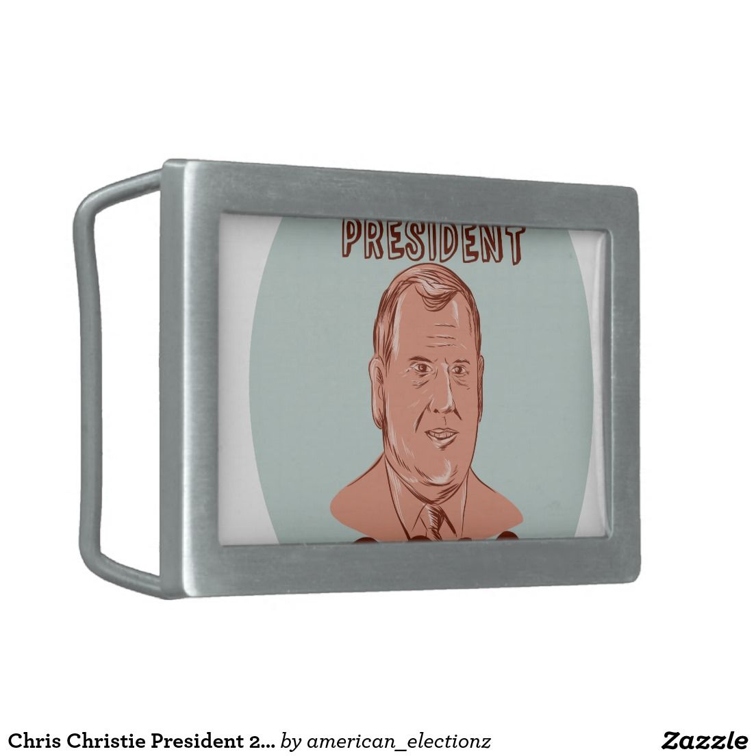 "Chris Christie President 2016 Oval Rectangular Belt Buckles. Illustration showing Christopher James ""Chris"" Christie, American Governor of New Jersey, politician and Republican 2016 US presidential candidate set inside oval on isolated background done in etching sketch style with words Chris Christie President 2016. #Christie2016 #republican #americanelections #elections #vote2016 #election2016"