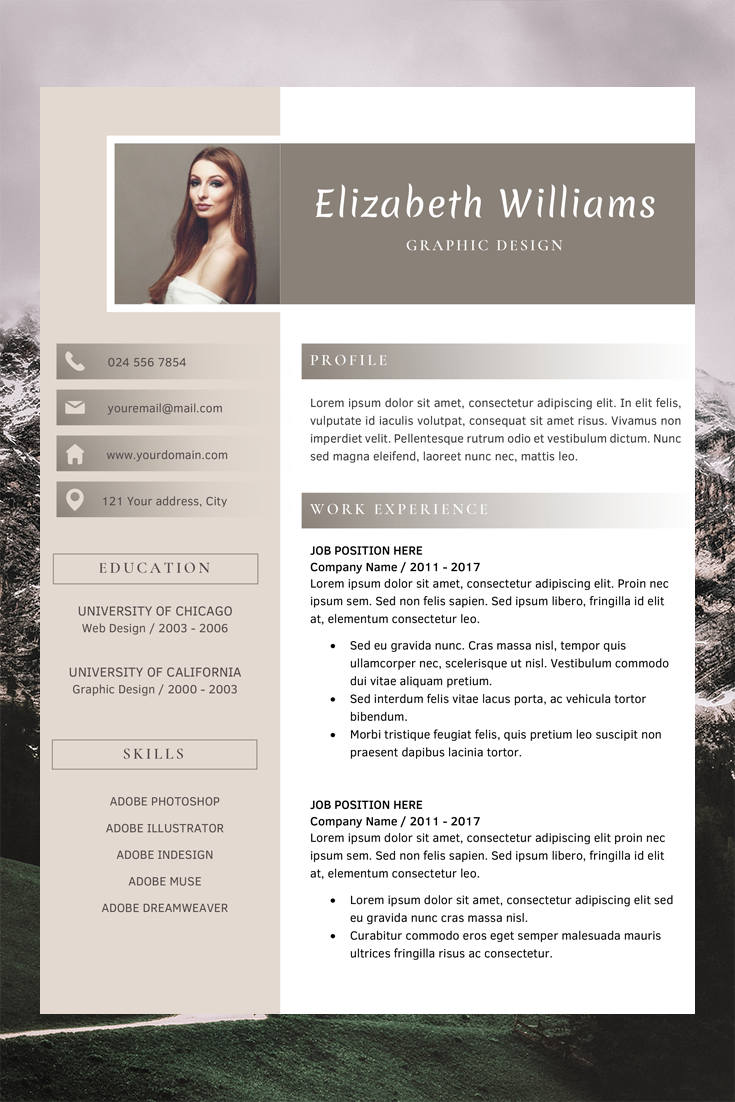 Resume Template for Word and Pages | CV Template | Professional Design Template | Creative CV Template | Resume Templates Instant Download