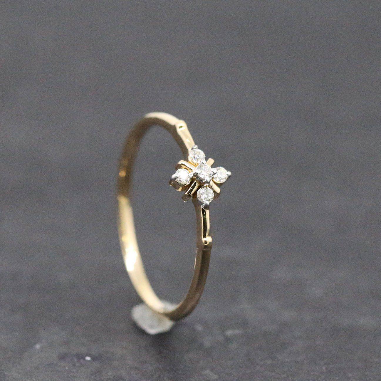 5 Stone Diamond Ring Small Diamond Ring Petite Diamond Ring Diamond Ring Gift Small Diamond Rings 14k White Gold Diamond Ring Aquamarine Engagement Ring