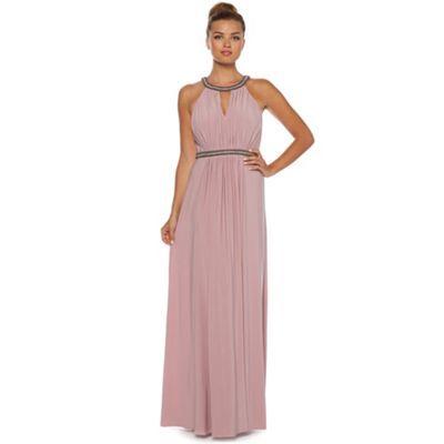 Debut pale pink embellished cowl back maxi dress