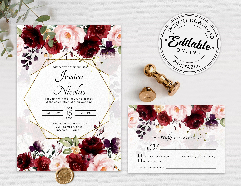 Wedding Invitation Marsala Wedding Invitation Template Marsala Invitation Printable Invitation Burgundy Wedding Invitation Suite Printable