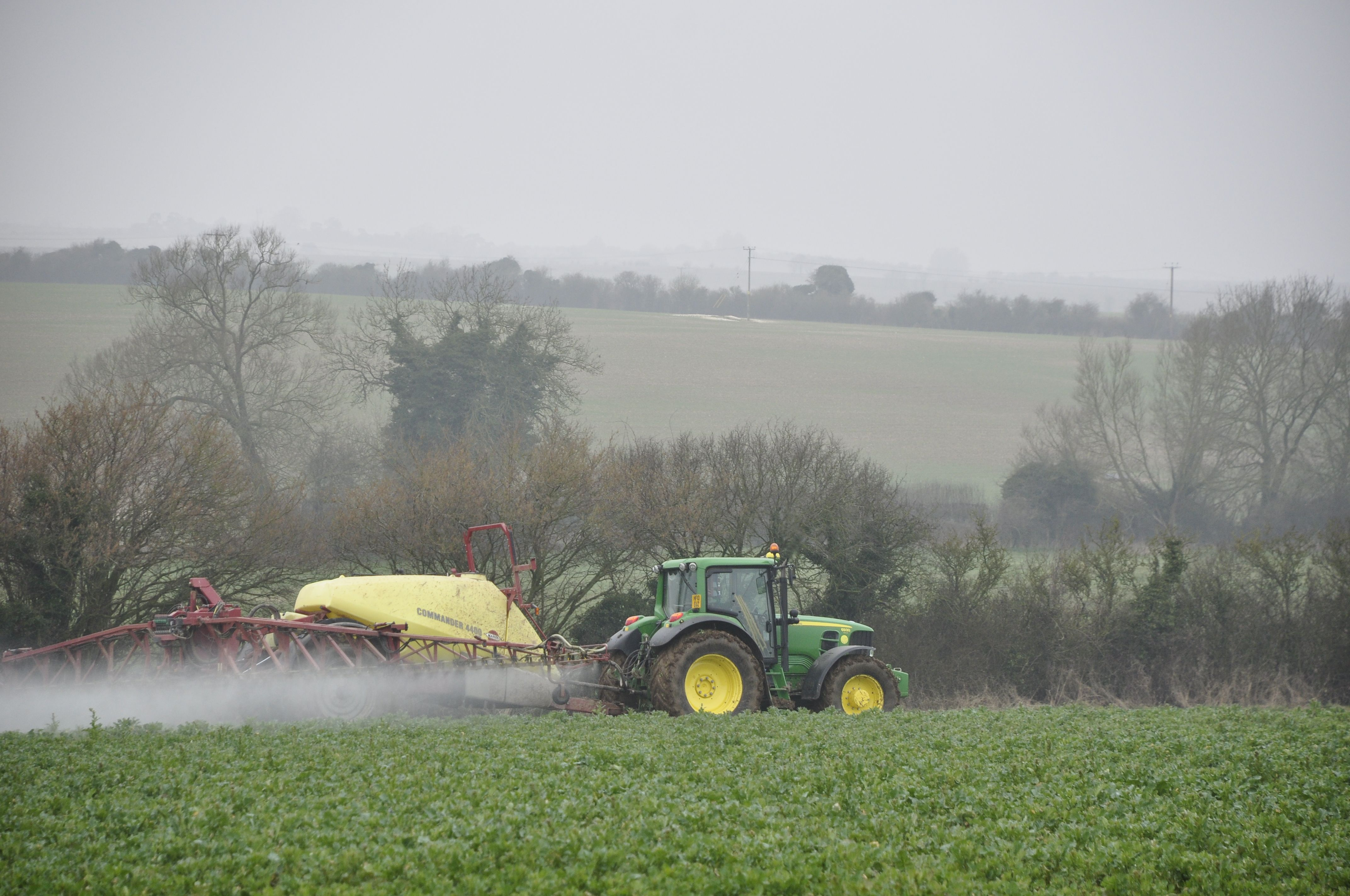 Spraying the crops Baileys field next to Spire View March 2013