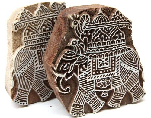 Elephant With Peacock Design Indian Wooden Block Printing Stamp