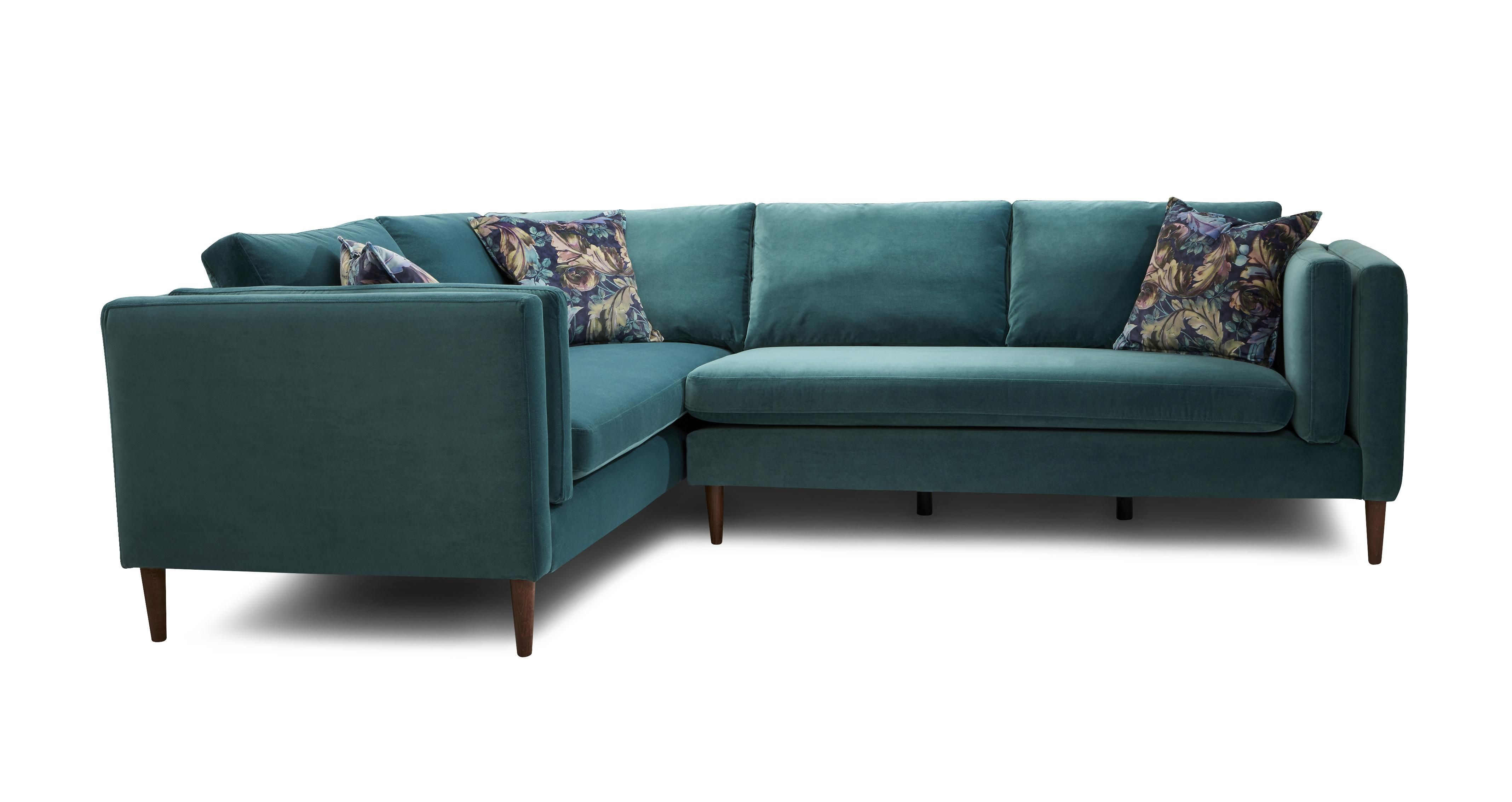 Teal Velvet Corner Sofa   Best Collections of Sofas and ...