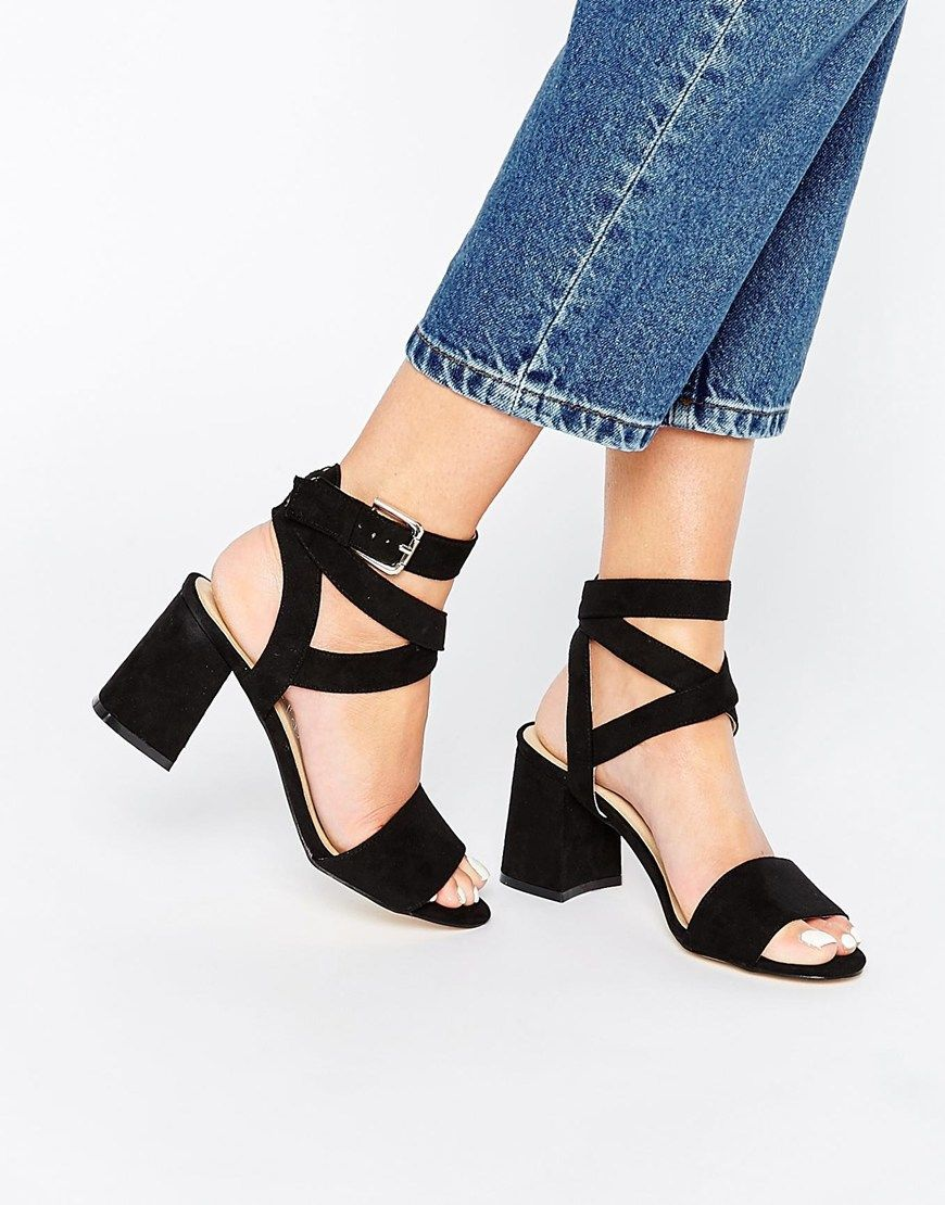 3478241a0c Image 1 of Truffle Collection Wrap Around Ankle Strap Kitten heel Sandal