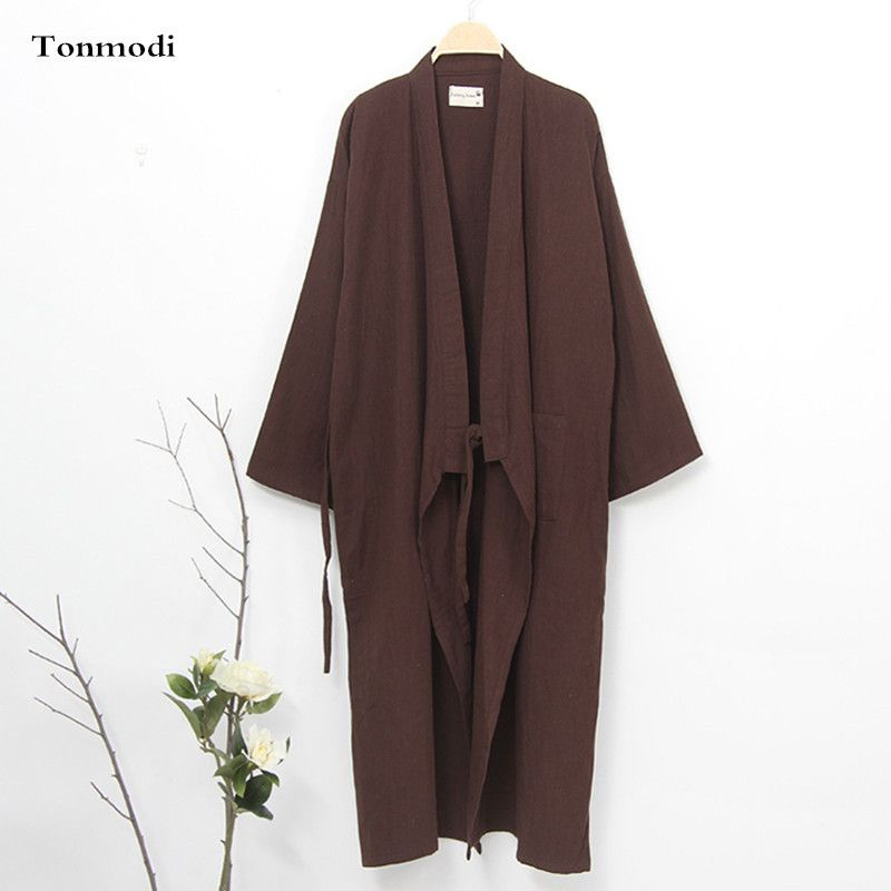 Kimono For Men Summer Robes Cotton Kimono Sleepwear Long Design Cardigan Bathrobes Mens Robs