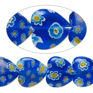 Bead, millefiori glass, translucent multicolored, 14-15mm puffed heart with 0.6-0.8mm hole. Sold per 15-inch strand.