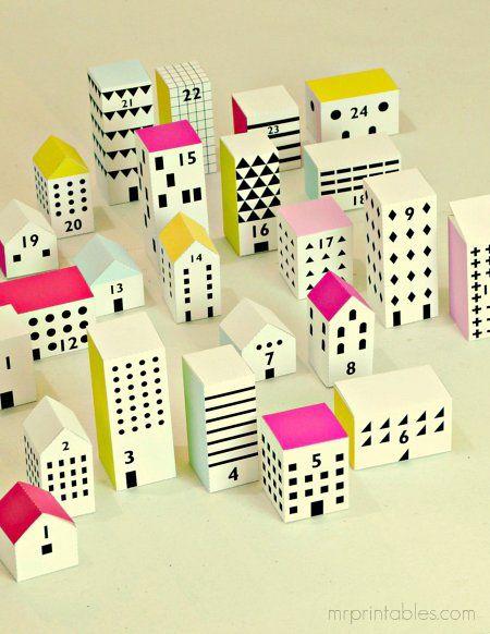 Adventskalender: Dorf zum Ausdruck (Farbe/sw). kids Pinterest