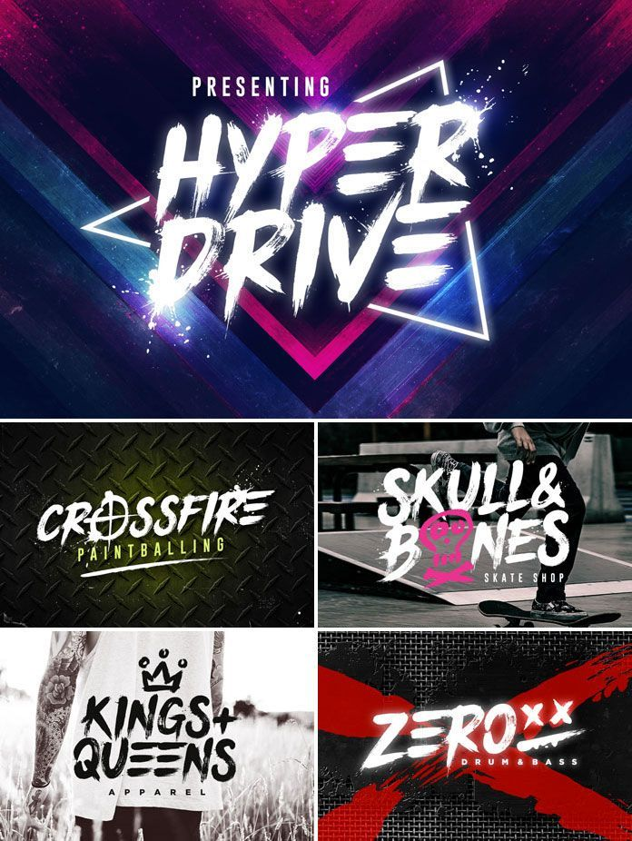Hyper Drive Brush Font Brush Font Edgy Fonts Graphic Design Fonts