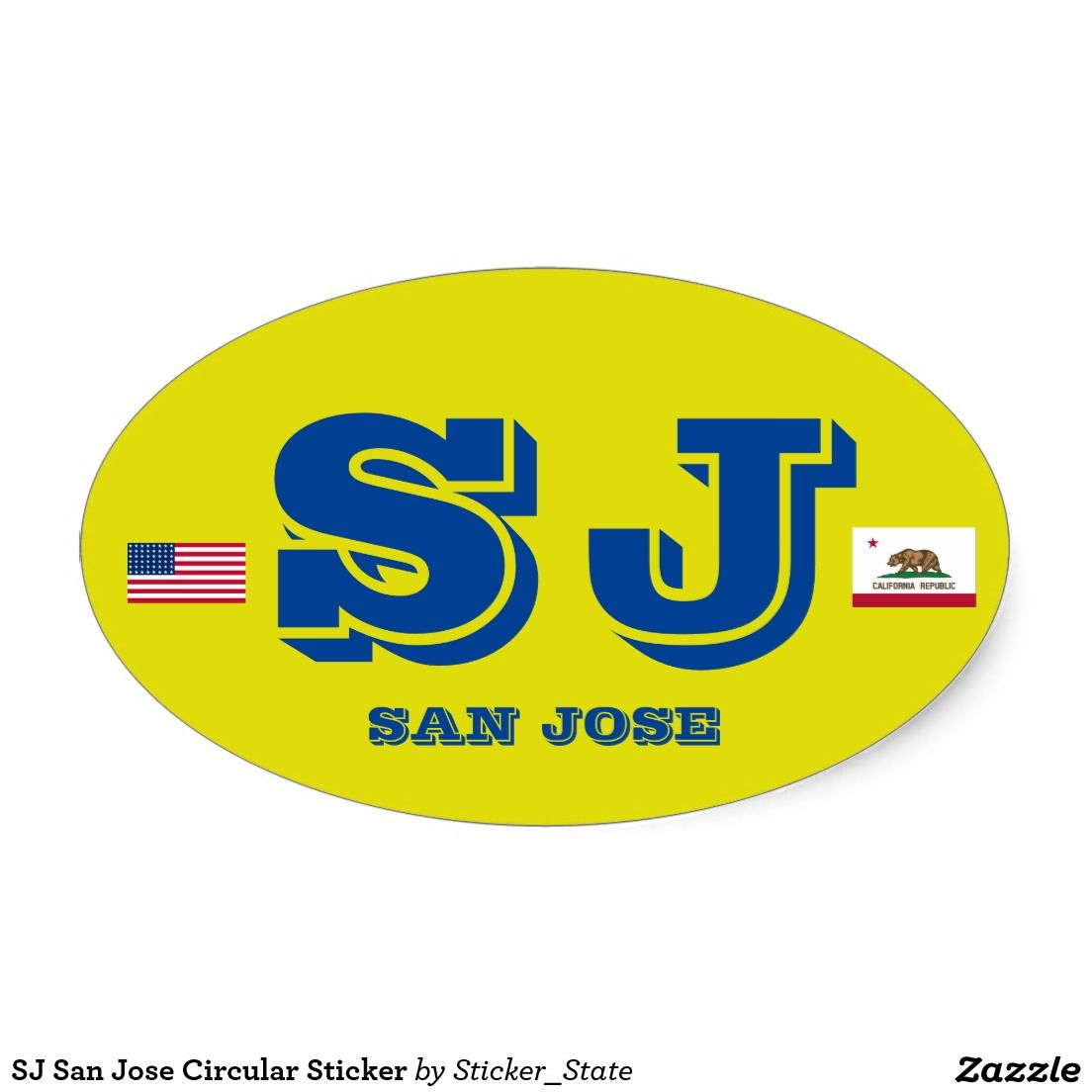 Sj san jose circular sticker