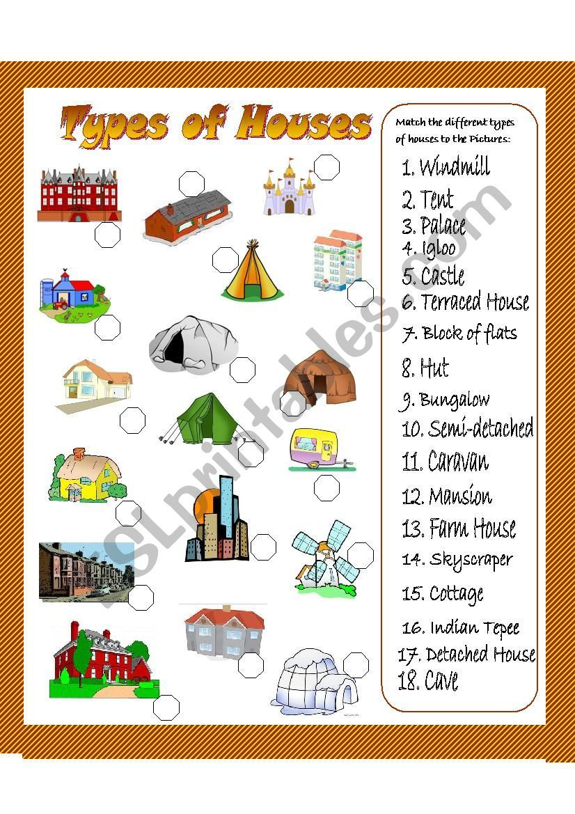 hight resolution of Types of houses matching exercise. It should go after seeing the pictionary  also uploaded today.   Types of houses