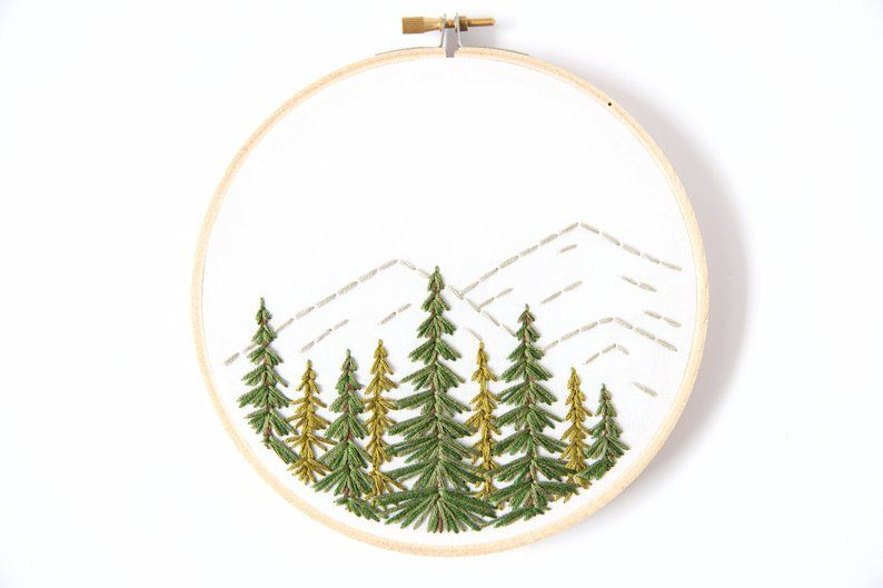 Mountain Embroidery Decor  Evergreen Tree Gift  Embroidery