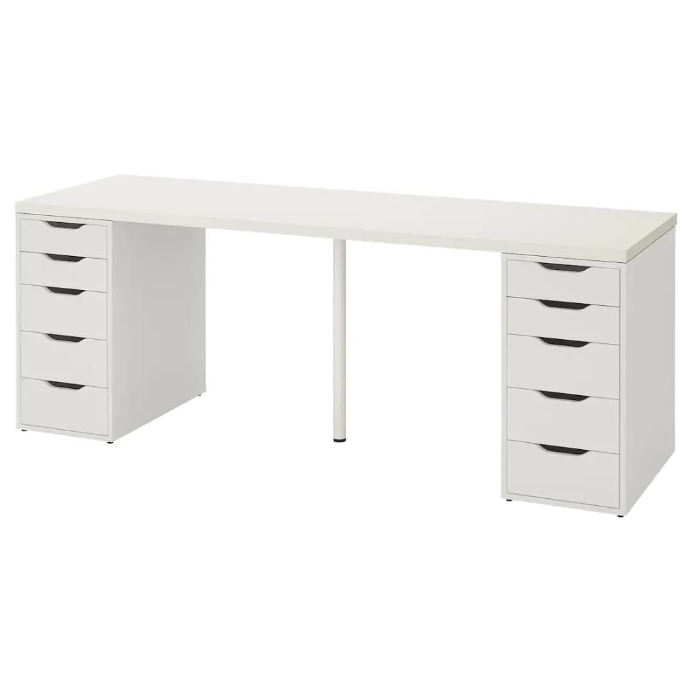 Scrivania Con Cassettiera Ikea linnmon / alex tavolo - bianco 200x60 cm | scrivania con