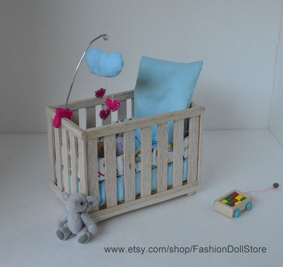 Crib For Doll Nursery In 1 6 Scale Playscale Barbie