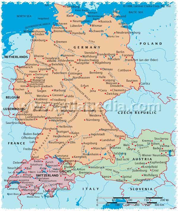Political Map Of Germany Austria Switzerland Liechtenstein - Germany physical map