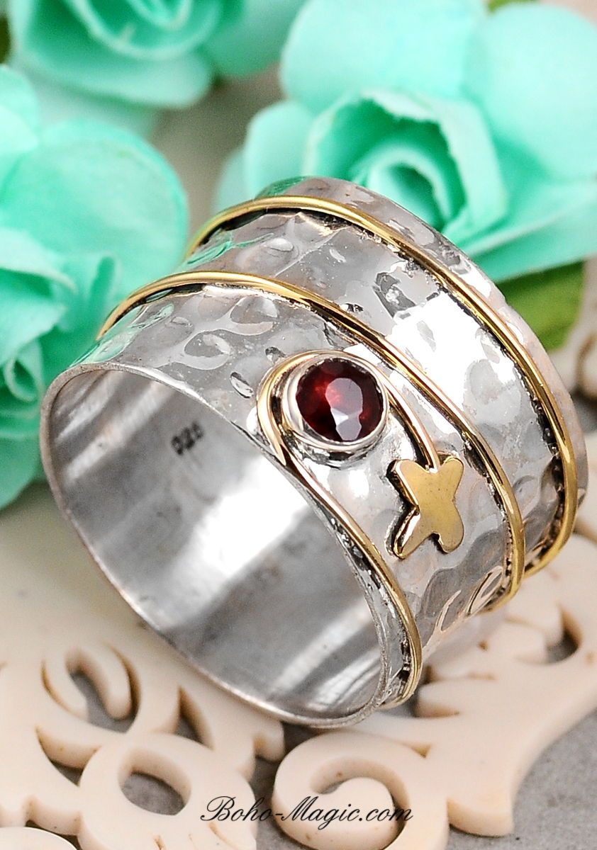Garnet Rings Hammered Wide Band Handmade Ring With Stone Sterling Silver Gemstone Ring Han Silver Rings Handmade Simple Silver Jewelry Silver Rings Simple