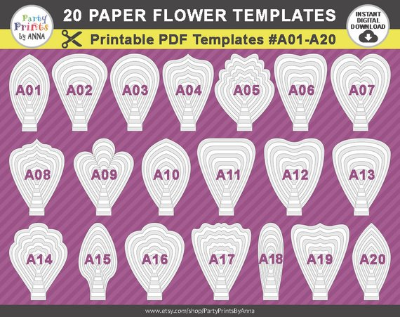 image about Printable Paper Flower Templates known as 20 PDF Paper Flower Templates, 20 printable templates A01