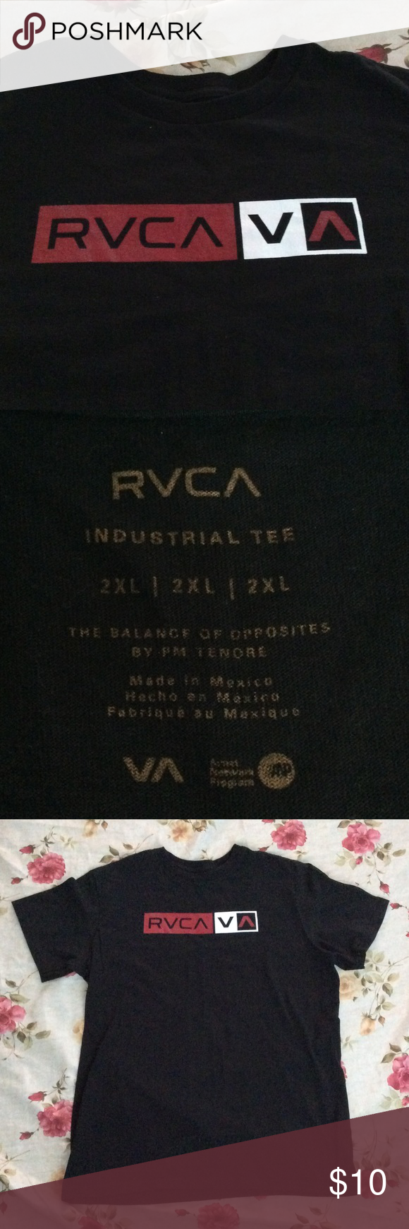 RVCA MENS TEE RVCA MENS TEE SIZE XXL. GENTLY USED. GREAT CONDITION. NO HOLES OR STAINS 😎 RVCA Shirts Tees - Short Sleeve